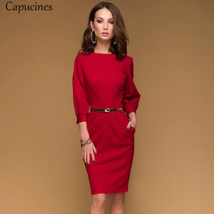 Image 2 - Red Pencil Dress Women Autumn Solid color Draped Lantern Sleeve Office Lady Dress 3/4 Sleeve Elegant Bodycon Dresses(No Belt)