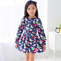 Дети бренд одежды 2017 новых осенью новорожденных девочек одежда Хлопок птица печати платье девушки