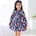 Crianças roupas de marca 2017 nova outono meninas do bebê roupas de Algodão pássaro impressão vestido da menina