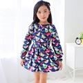 Niños marca de ropa 2017 nuevo otoño de los bebés ropa de Algodón de aves de impresión vestido de la muchacha