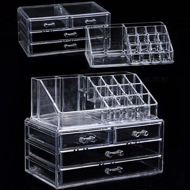 Acrylique transparent Maquillage Organisateur Boîtes De Rangement Make Up Organizer Pour Cosmétiques Brosse Organisateur stockage Tiroirs type