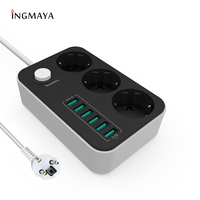 INGMAYA 6 Port USB Charger 3.4A 3 Outlet EU Power Strip For iPhone 5S 5 6 6S 7 Plus Samsung Huawei ZTE Sony Mp3 PSP AC Adapter