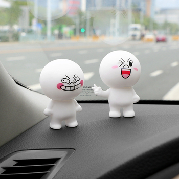 Car Ornament Cartoon Doll Adornment Cute Expression Car Decoration Dashboard Auto Interior Decor Car Accessories