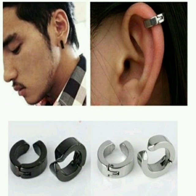 Fashion Punk Men Earrings Clip No Ear Hole For S Boys Stainless Steel Earring Without Piercing