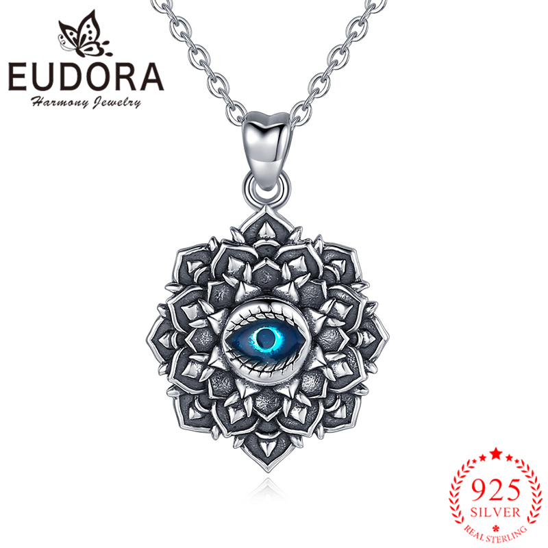 Eudora Authentic 925 Sterling Silver Evil Eye Pendant Necklace Vintage Retro Fashion Jewelry for Women Men Party Accessories 925 sterling silver jewelry necklace pendant retro evil vajra pestle jiangmo avoid evil spirits musical instruments page 2