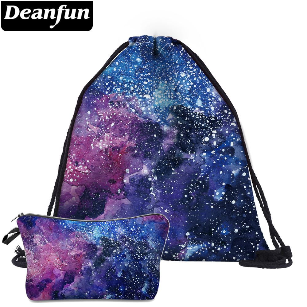 Deanfun 2Pc Drawstring Bags 3D Printed Starry Sky Fashion Schoolbags For Women