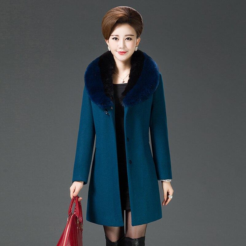 Xadrez mulheres casaco de inverno da pele do falso casaco quente outwear casual mid-long-verde um botão solto plus size 2XL lã l R$ 77,30 / item (30) | Pedidos ().