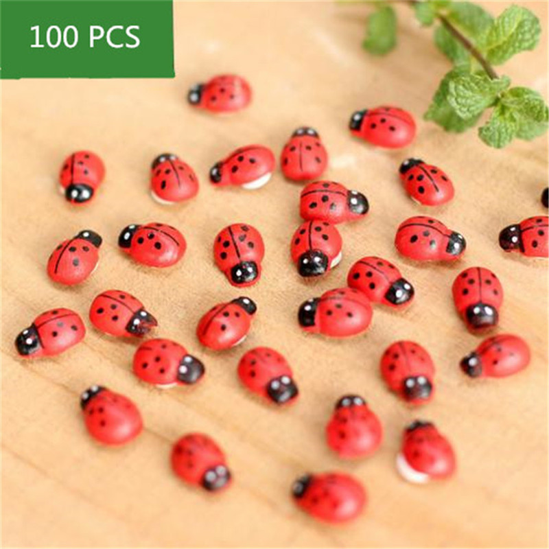 100Pcs Red Wood Crafts Beetle Ladybirds Sticker Adhesive DIY Craft ...