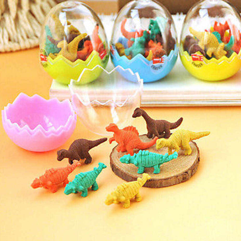8Pcs/Pack New Colorful Novelty Mini Dinosaur Egg Student Little Eraser Students Stationary Cute Creative Gift Random Color