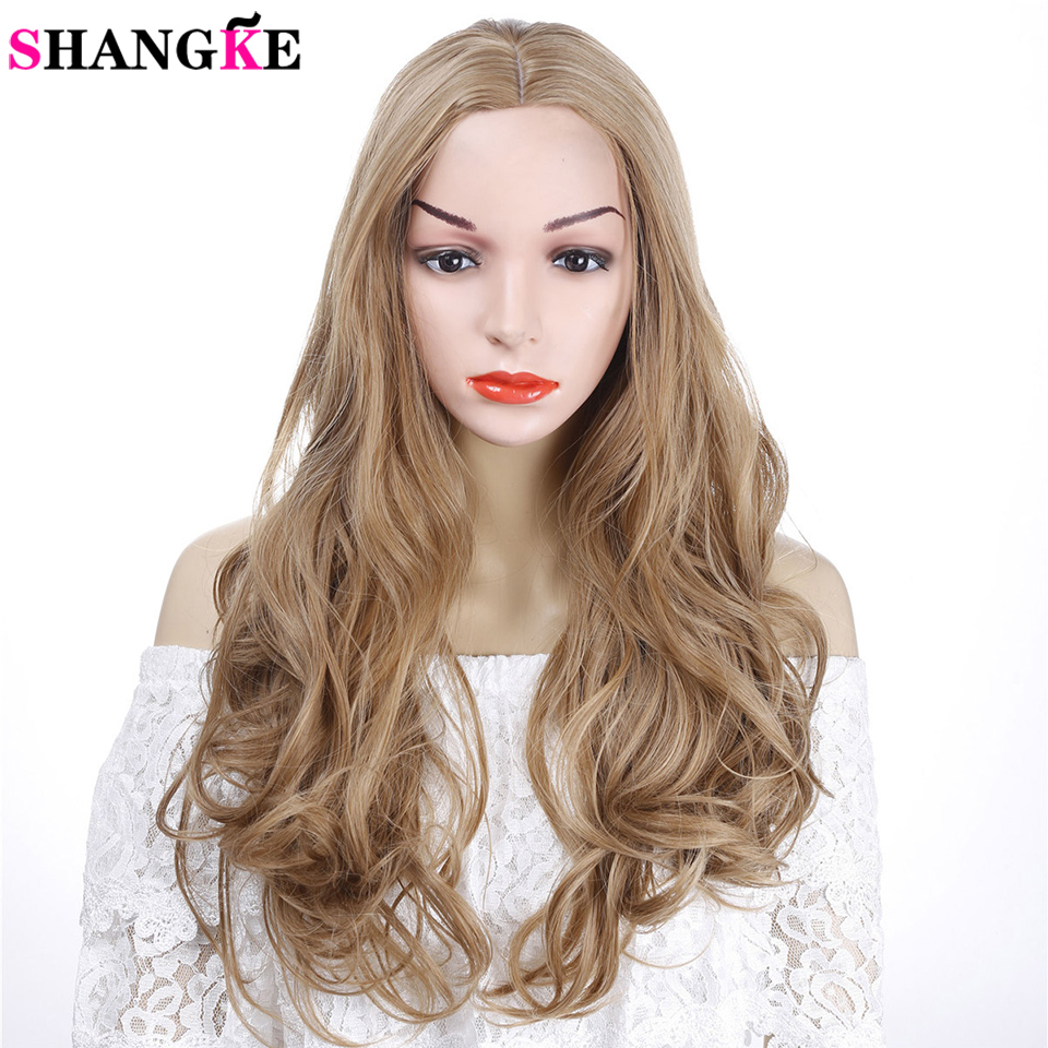 SHANGKE Golden Blonde Long Curly Wig Synthetic Cosplay Wig With Big Swap Bangs Drag Queen For Halloween Daily Use