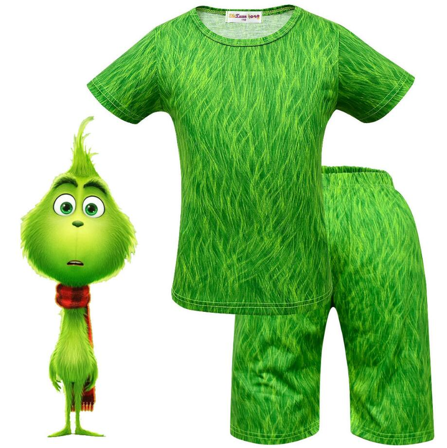 2019 How The Grinch Stole The Grinch Cosplay Costume for Kids Halloween Girls Boys Grinch Cartoon tops+shorts  Christmas Gift