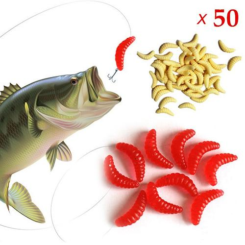 50 Pcs Outdoor Fishing Soft Silicone Mealworms Maggot Grub Worm Fishing Lures Bait Tackle