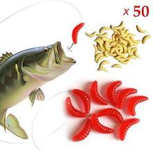 50 Uds. De pesca al aire libre de silicona suave gusano larva lombriz Señuelos de Pesca cebo aparejo