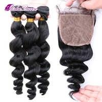 Aisha Königin Lose Welle Brasilianische Menschliches Haar 3 Bundles mit 1 Seide Schließung 4x4 Natürliche Schwarze Remy Haar 100% menschliches Haar