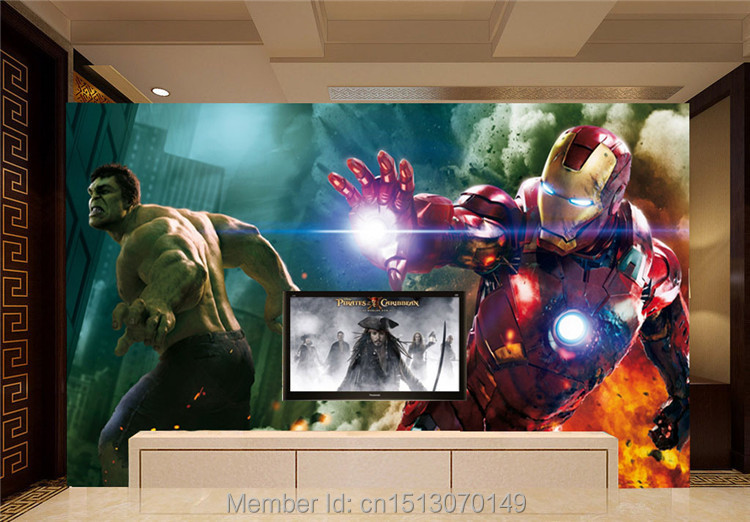 The Avengers Wall Mural Iron man   hulk Custom Large Photo wallpaper  Super Hero Room Decor. Wallpapers Picture   More Detailed Picture about The Avengers Wall