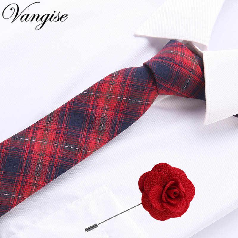 유럽 남성 코튼 넥타이 넥타이 스키니 도트 좁은 니트 넥타이 캐주얼 격자 무늬 보우 타이 & 브로치 세트 영국 넥타이