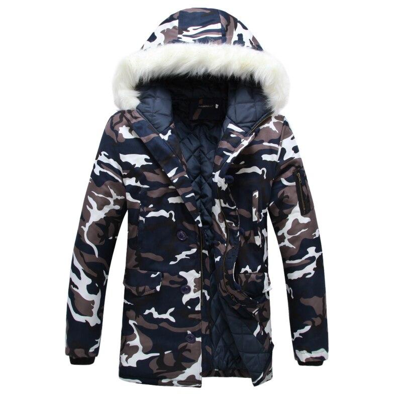 Камуфляж вниз куртки-парки 2019 Для мужчин парка пальто с капюшоном мальчиков меховой воротник парки зимние куртки мужские в стиле милитари у...