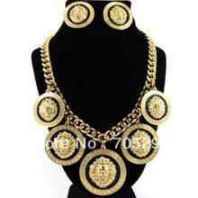 5x Lion Head Vintage Collar Llamativo y Pendientes Círculo Enlace Cadena Oro y Negro Envío Gratis