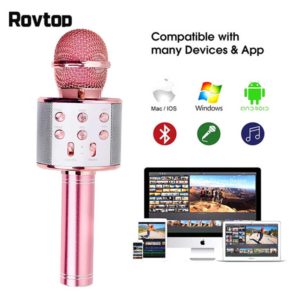 Profesional Nirkabel Bluetooth Microphone Karaoke Speaker KTV Pemutar Musik Bernyanyi Recorder Mikrofon Genggam MIC 1800 MAh