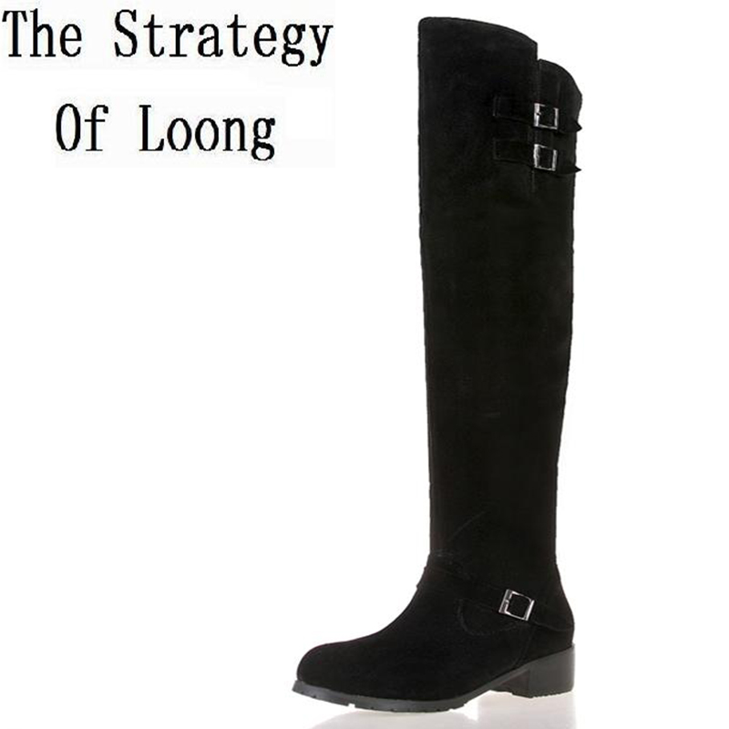 Genuine Leather Women Winter Long Boots Over The Knee Buckle Lady Boots 2016 New Fashion Flat Big Size Boots Plus Size 34-45 genuine leather women over the knee boots pointed toe wedge heels thick warm lady winter long boots plus size 43 44 45 big size