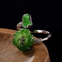 Дизайн зеленые листья цветок кольцо серебро 925 кольца для женщин натуральный камень нефрит Винтаж Бижутерия