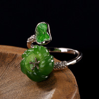 Original Design Green Leaves Flower Ring Silver 925 Rings Women Natural Stone Jade Vintage Bijouterie Fine