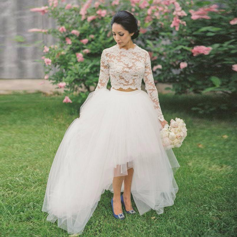 Robe De Soriee New Simple Wedding Dress Full Sleeve Lace: 2 Pieces Bridal Dresses Lace Robe De Soiree Abiye Pageant