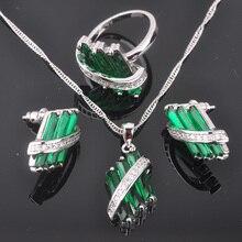 Única Piedra Verde Sistemas de La Joyería de Plata de Las Mujeres Zirconia Pendientes/Colgante/Collar/Anillos Envío Gratis QZ024