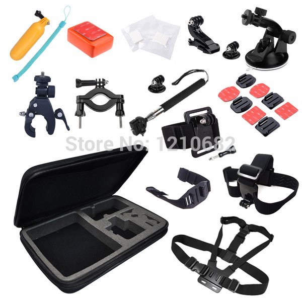 Go pro Accessory Set+Kit Chest Head Strap Floating Grip Monopod Case Chest Strap for xiaomi yi GoPro Hero 3 3+ 4 5 session