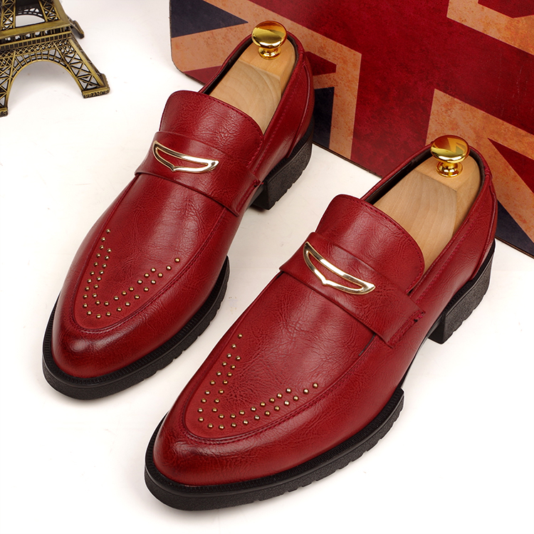 British style men business wedding dress rivet casual genuine leather brogue shoes slip on loafer pointed toe flat shoe footwear pointed toe tassel leather shoes men slip on brogue shoes flats british style rivet shoes casual loafers chaussure homme 022
