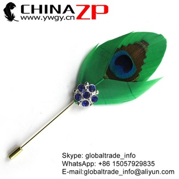 CHINAZP Factory Cheap Wholesale Kelly Green Dyed Goose & Trimmed Peacock Feathers Rhinestone Brooch Pin