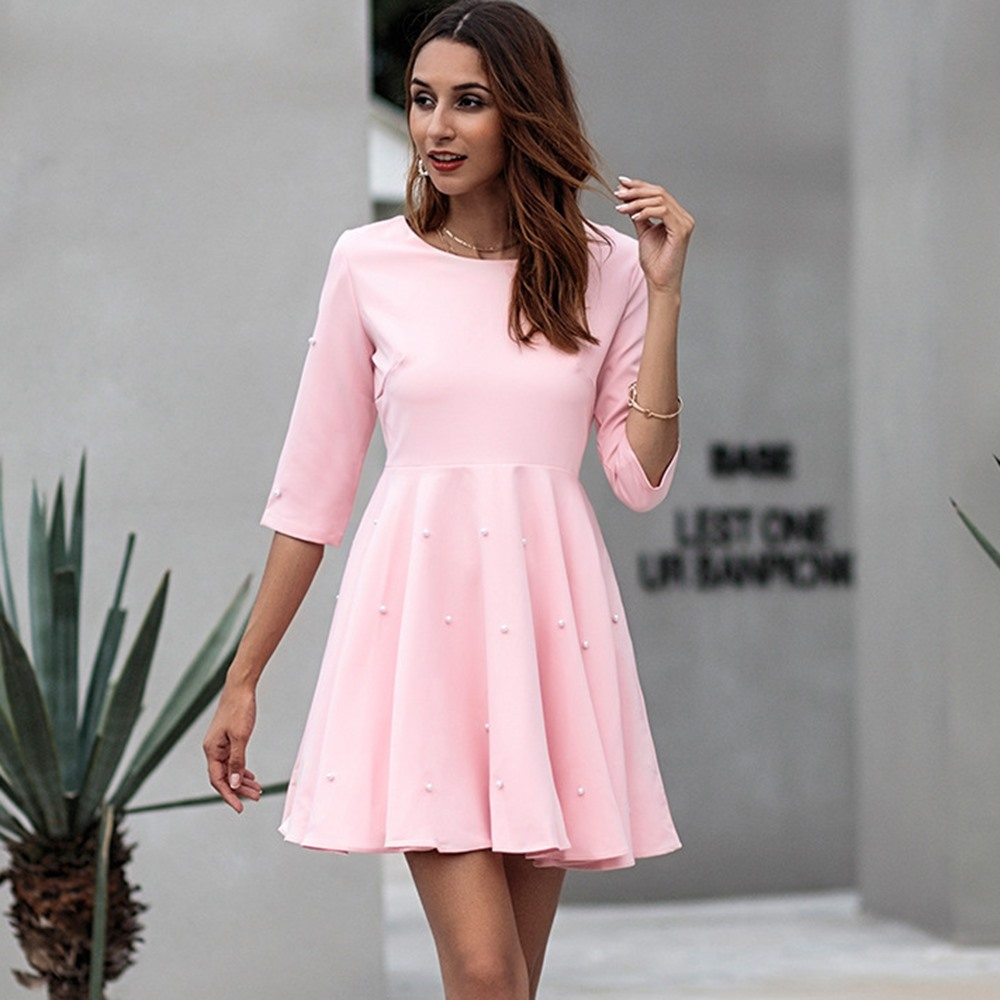 2018 Autumn New Vintage Elegant Pink Office Lady Women Dresses A-line Plain Bead Girls Travel Beach Holiday Female School Dress