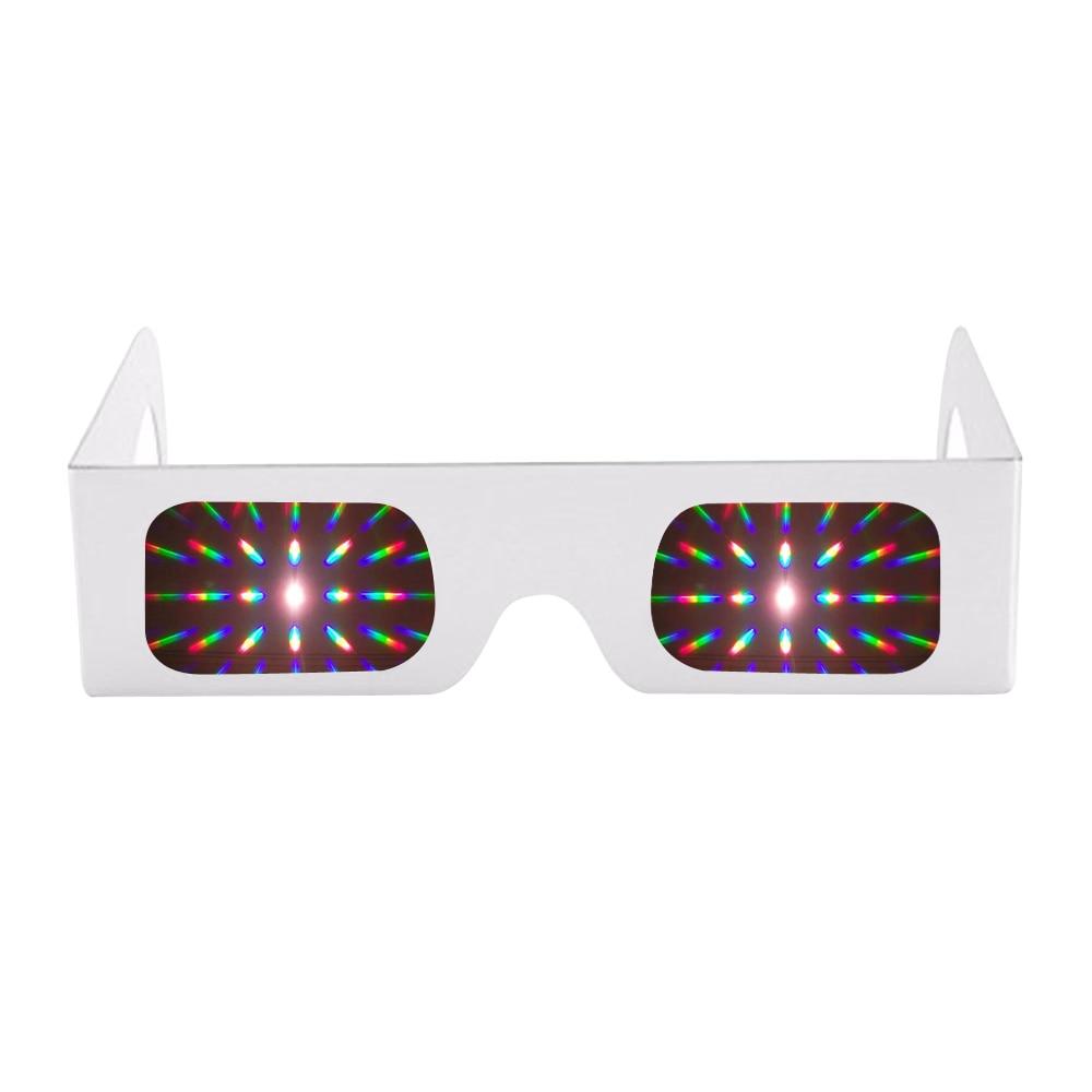 100 pcs White Paper 3D Raves Prism 13500 Lines Spiral Light Diffraction Fireworks Glasses For Laser