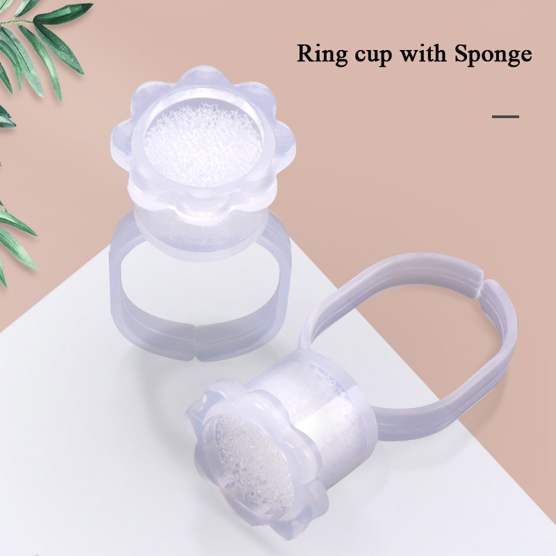 Disposable Tattoo Ink Ring Cups With Sponge Microblading Accessories Micro Pigment Cups Ink Holder Tools Permanent Makeup Supply
