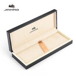 Marka Jinhao oryginalny drewniany długopis na wieczne pióro kulkowe długopisy luksusowe skórzane drewniane szkolne biuro piórnik do artykułów piśmienniczych