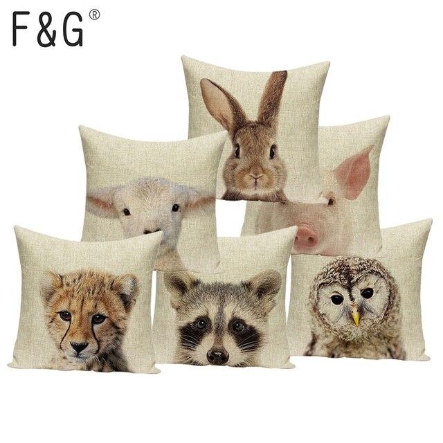 Cartoon Animali Stampato Cuscini Copertura di Arte Decorativa Carino Cuscino Per