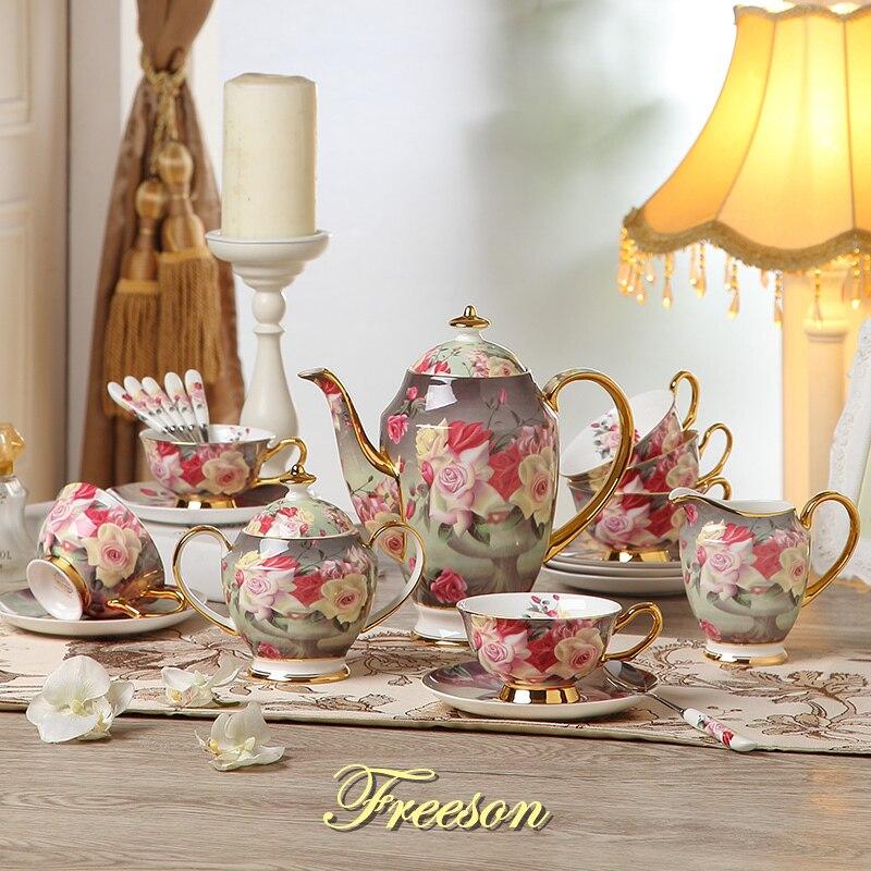 Vintage Rose Bone China Coffee Set British Porcelain Tea Set Ceramic Pot Creamer Sugar Bowl Teatime Teapot Coffee Cup Coffeeware