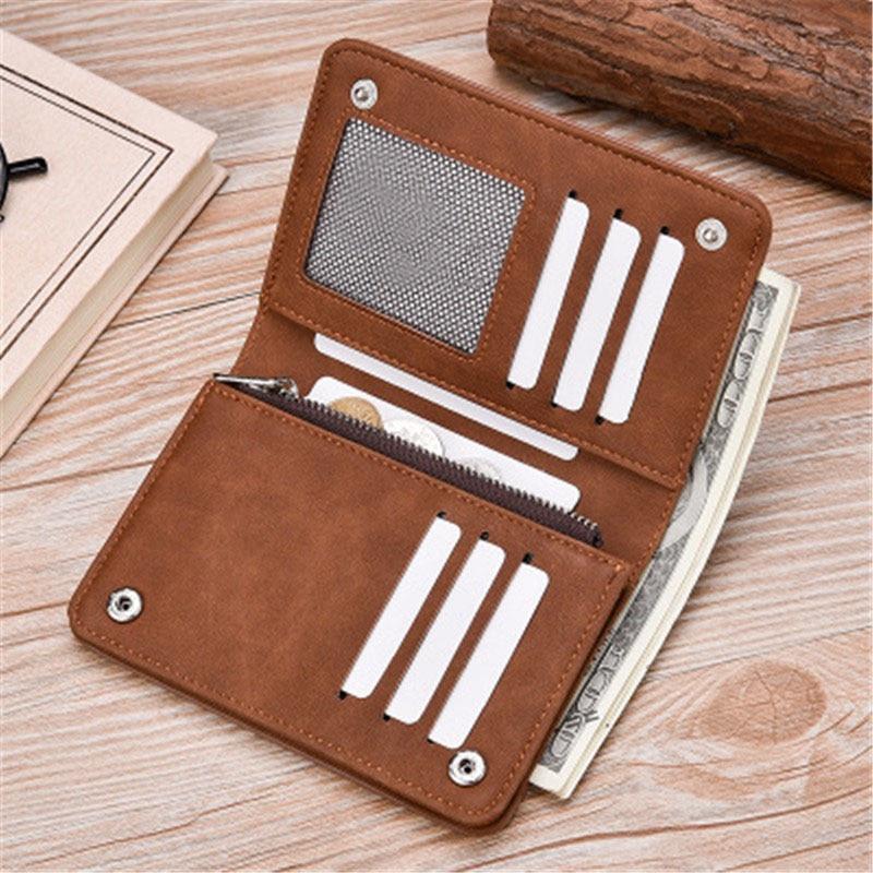 Ny Zipper plånbok retro frostat läder mäns plånbok Hög kvalitet - Plånböcker - Foto 6