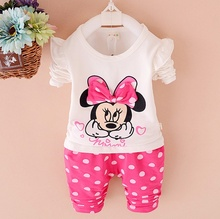Spring and Autumn new baby clothing set girls cotton with Cartoon print o-neck full sleeve sets
