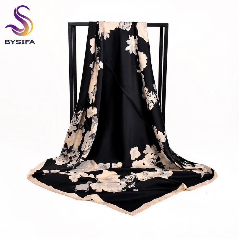 [BYSIFA] Black Beige Women Dull Satin Square Scarves Wraps Fashion Silk Scarf Shawl 100*100cm Elegant Mulsim Head Scarf Cape