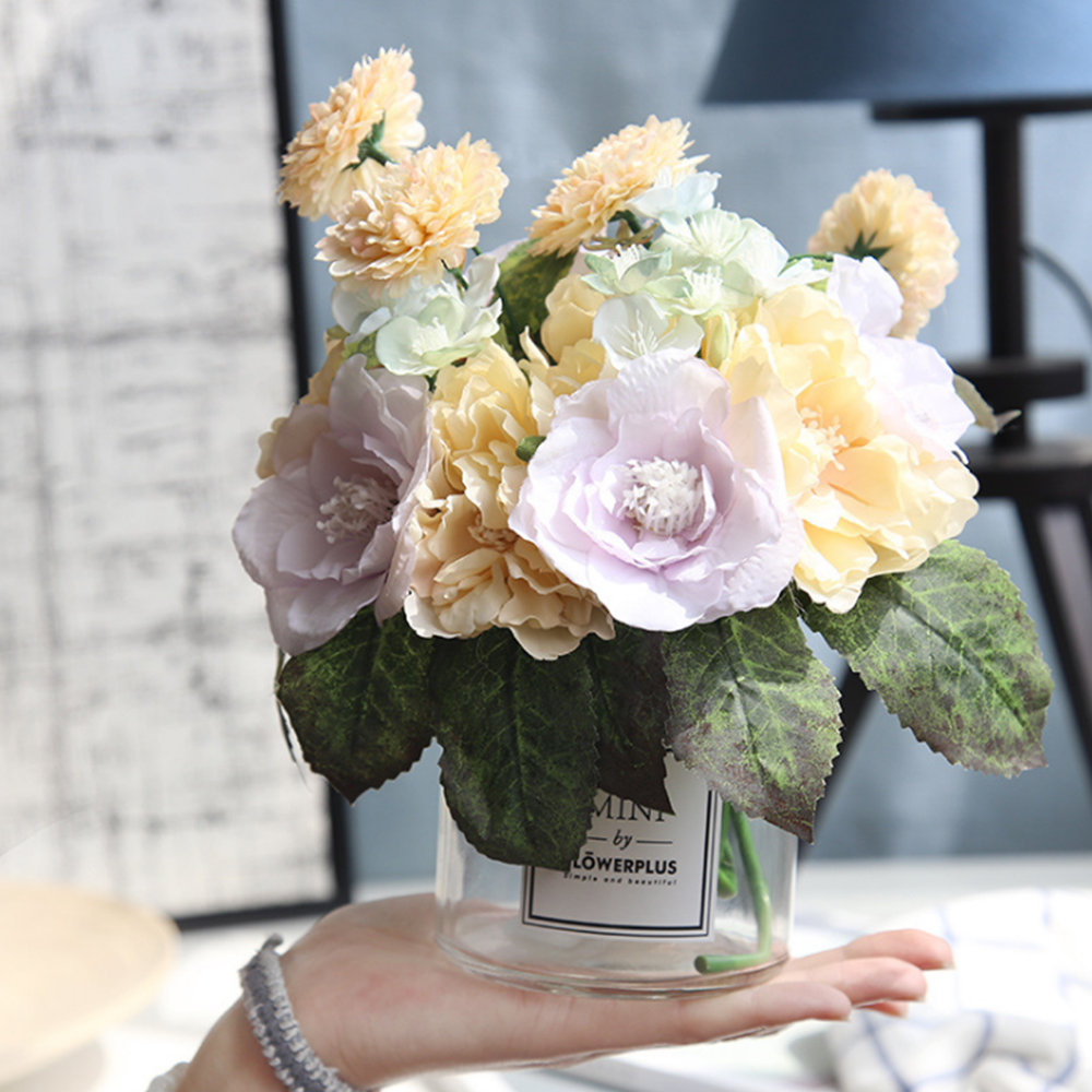 Artificial Rose Flower Real Touch Silk Fake Flowers Bouquets for Wedding Bridal Holding Flowers Home Garden Party DIY Decoration