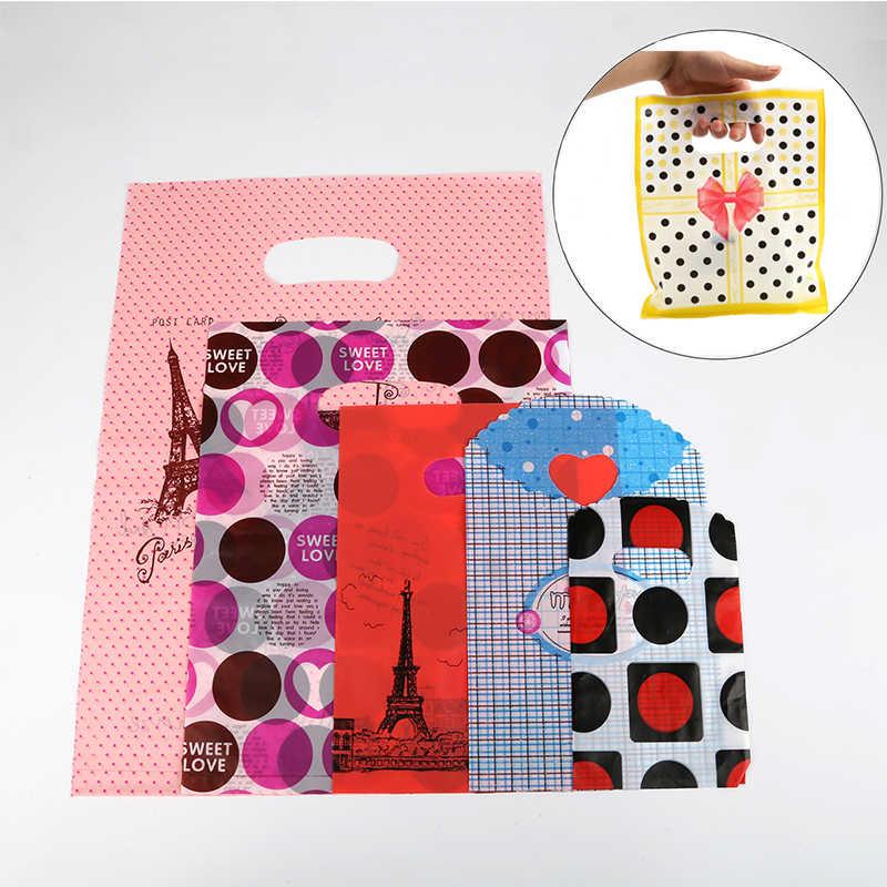 Шт. 20-50 шт подарочные пакеты с ручками бутик пакеты с ручками для покупок пластиковые пакеты для покупок подарпосылка сумка