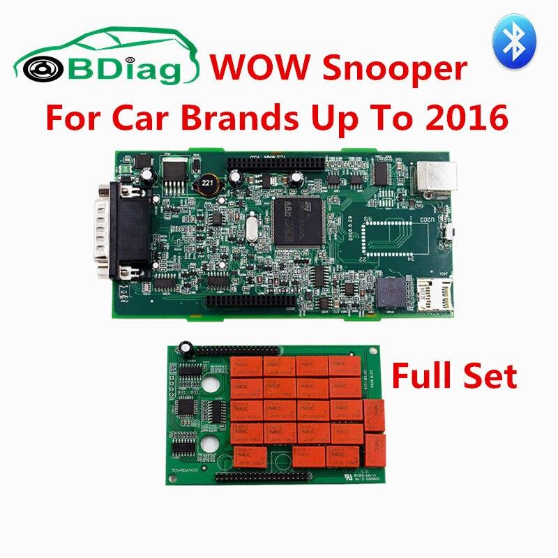 Prix pour V5.008 R2 WOW Snooper Super Outil De Diagnostic Bluetooth WOW Snooper avec Plein Cas Envoyer Livraison Keygen Mieux Que TCS CDP Pro
