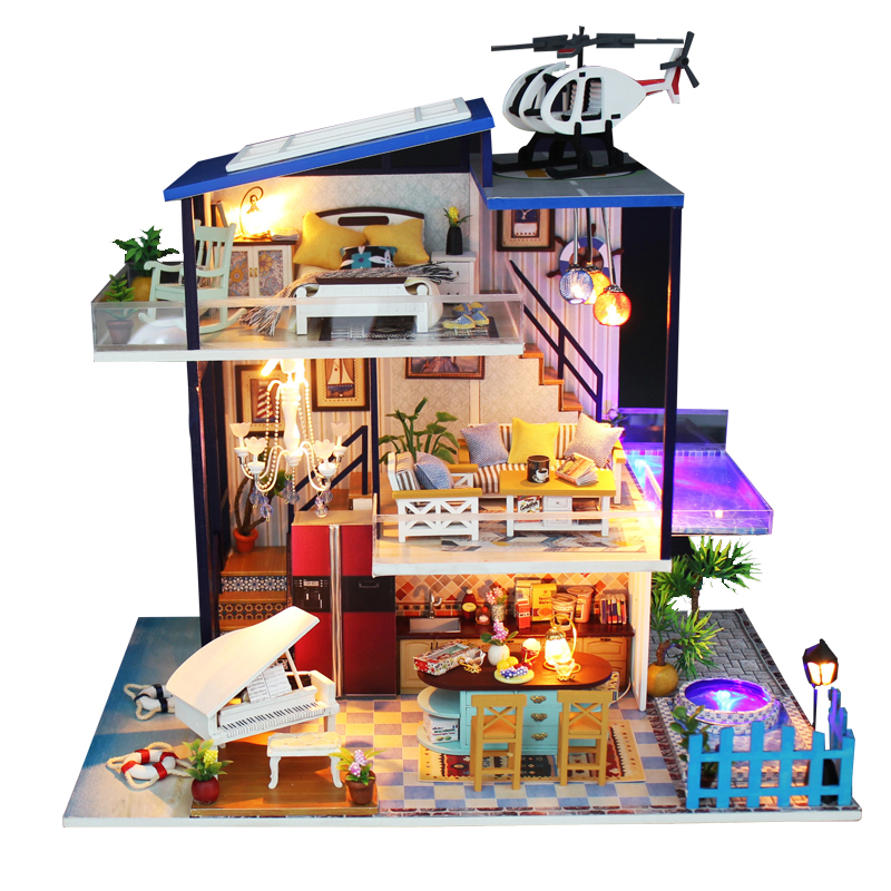 NEW Miniature DIY Doll Houses With Airplane 3D Wooden Doll House Miniaturas dollhouse Furniture Kit Toys for Children Gifts недорого