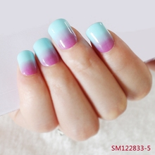 Pearl Shine Gradient False font b Nails b font Blue Rose Red Gradients Fake font b