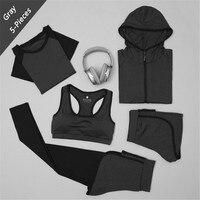 XC LOHAS LadiesTracksuits For Women Yoga Set Workout Gym Clothes Sports Bra+zipper hooded jacket+leggings+Shorts+Sports tshirt