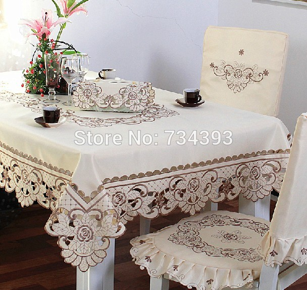 Luxury European Style Classical Pastoral Cloth Embroidered Tablecloth Oval Coffee Table Cloth Rectangle Dining Table