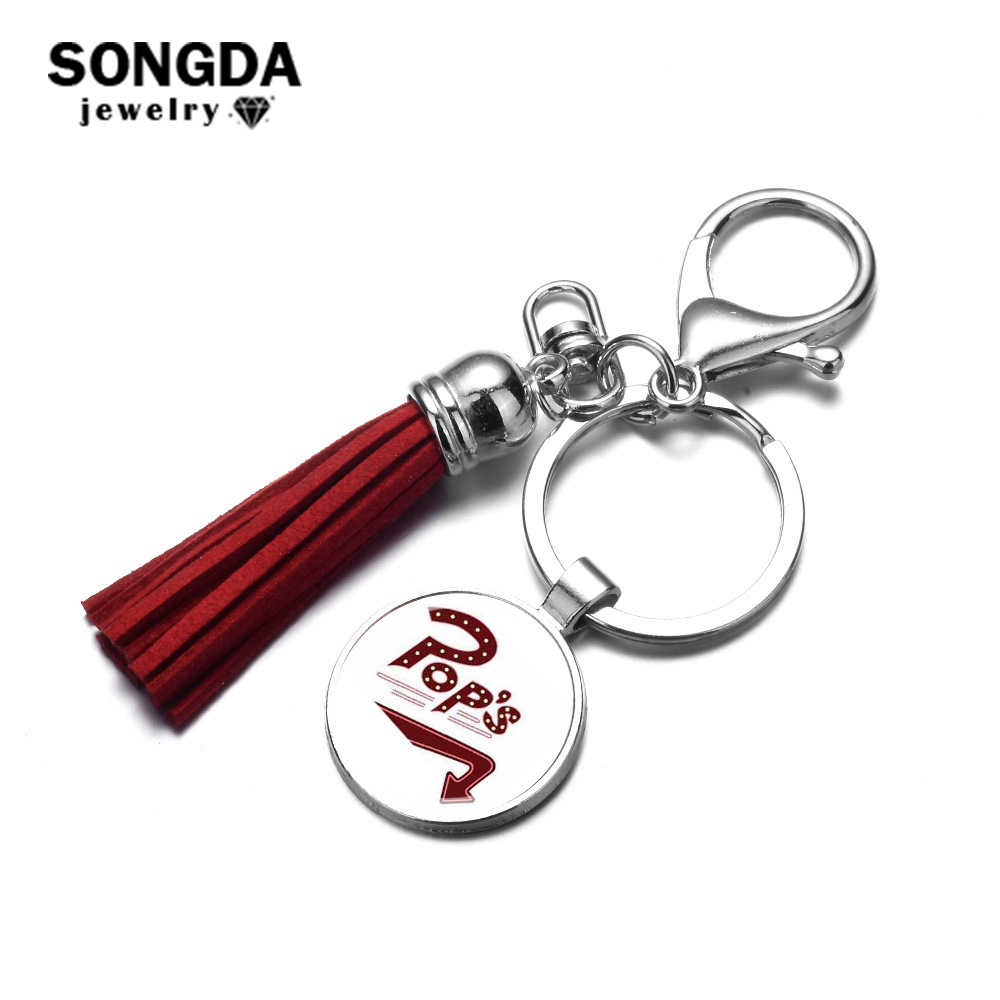 SONGDA Riverdale Charm Keychain Leather Tassel with Glass Cabochon Lettering POPs Photo Key Chain Fans Jewelry for Women and Men