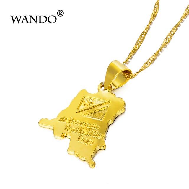 Фото wando трендовое ожерелье с маленькой картой из конго золотого цена