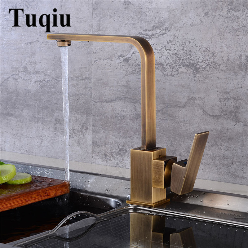 Kitchen Faucet Antique Brass Deck Kitchen Sink Faucet High Arch 360 Degree Rotating Swivel Cold Hot Mixer Water Tap цена